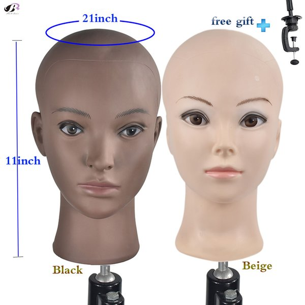 Bolihair PVC Manequim Bald Cabeça de Treinamento Manequim Cabeça Careca Manequim profissional para Perucas de Exibição Boneca com uma Braçadeira Livre