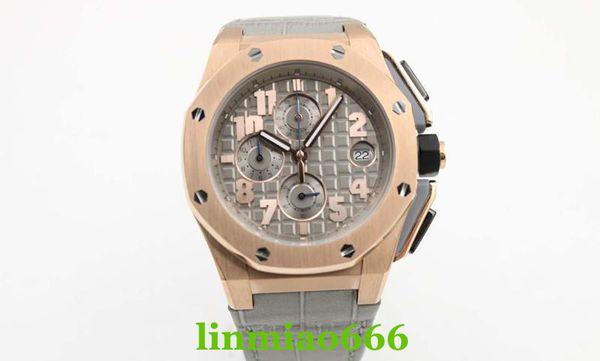 2019 luxury watch men's royal oak offshore watch sports quartz chronograph Capolavoro Smoke Grey Alligator Strap men's dress watch