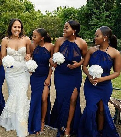 2019 royal blue Long mermaid Bridesmaid Dresses stain tulle sweep train High Slits Maid Of Honor Prom Gowns Wedding Guest Dress custom made