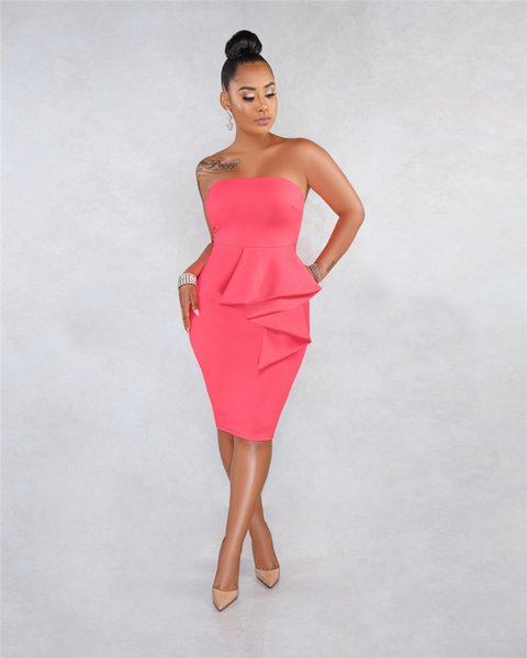 Summer Pure Color Female Dress Women Strapless Sleeveless with Peplum Designer Dresses Casual Ladies Holidays Clothing