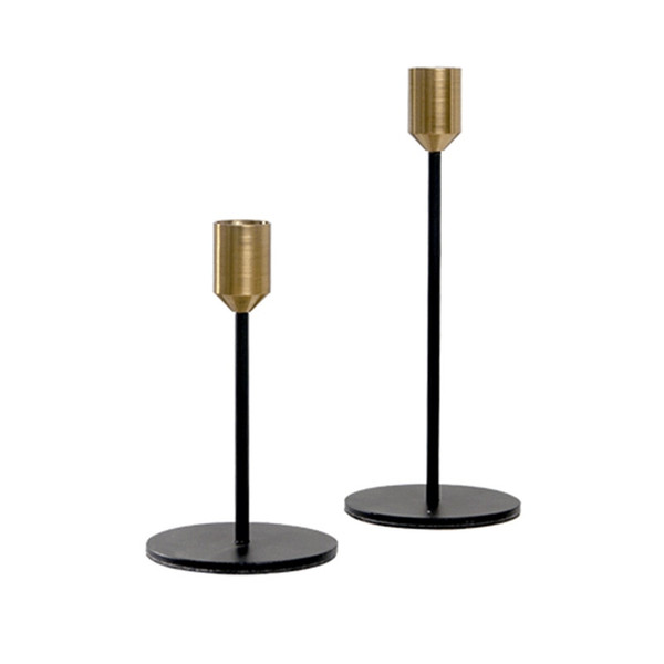 Free shiping Modern Style Gold With Black Metal Candle Holders Wedding Decoration Bar Party Home Decor Candlestick