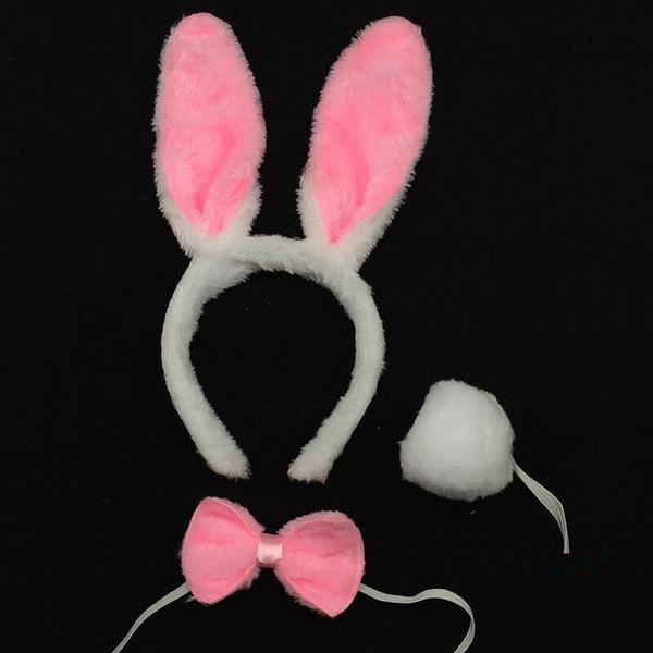 Easter Bunny Ears White Rabbit Headband /& Tail Fancy Dress Hen Party Night New