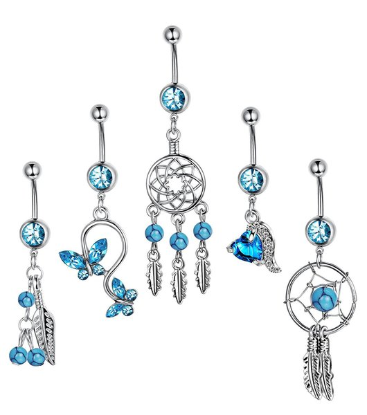 5pcs/set Dream Catcher Blue Stone Zircon Crystal Body Jewelry Stainless Steel Rhinestone Navel & Bell Button Piercing Rings for Women