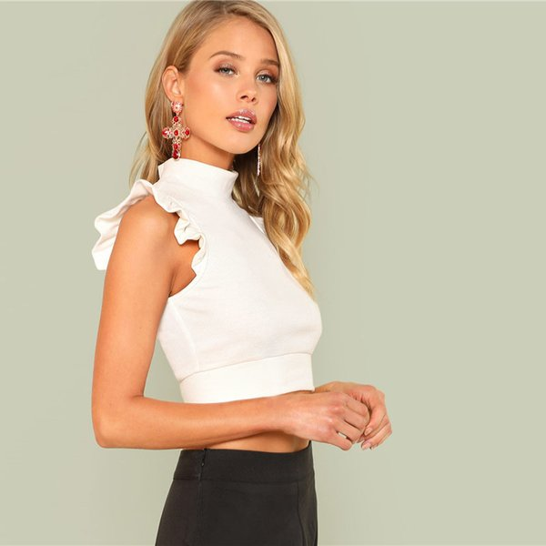 Armhole Ruffle Rib Knit Slim Crop Top Women White Stand Collar Plain Vest Summer Female Sexy Party Top Vest