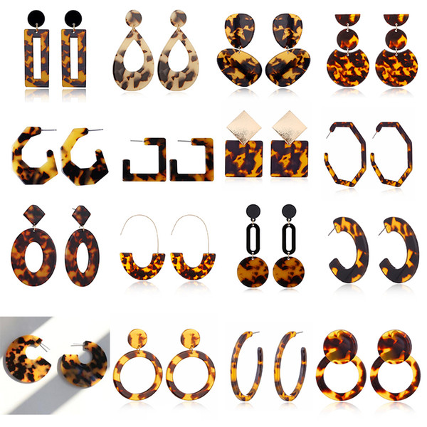 best selling New Designer Tortoise Color Leopard Print Acrylic Acetic Acid Sheet Geometric Circle Square Long Drop Earrings Hot Animal Ear Stud for Women