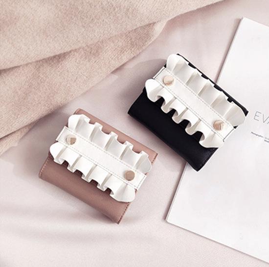 Neue Verkauf Mode Kurze Brieftasche Frische Rüschen Geldbörse Frauen Leder Brieftasche Münztüte Foto Platz Nette Geldbörse Brieftasche