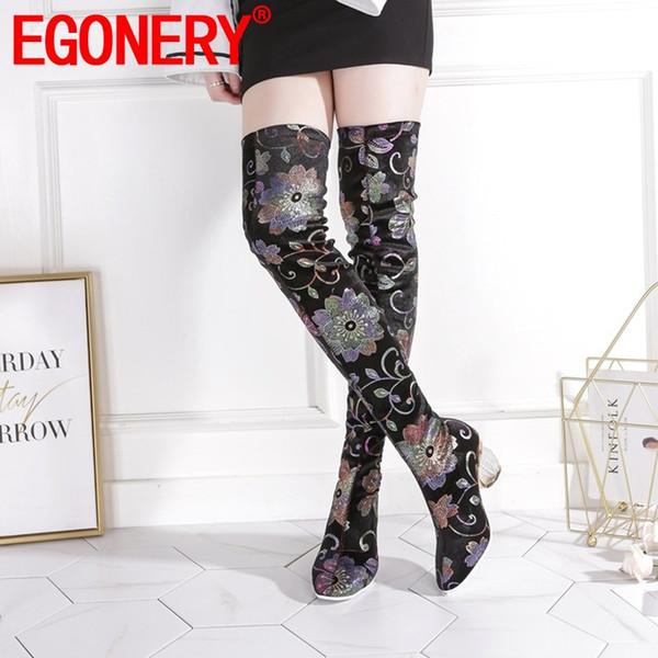 EGONERY mulher sapatos 2019 outono inverno nova moda dedo do pé quadrado imprimir sobre o joelho botas de salto alto quente slip-on sapatos das senhoras