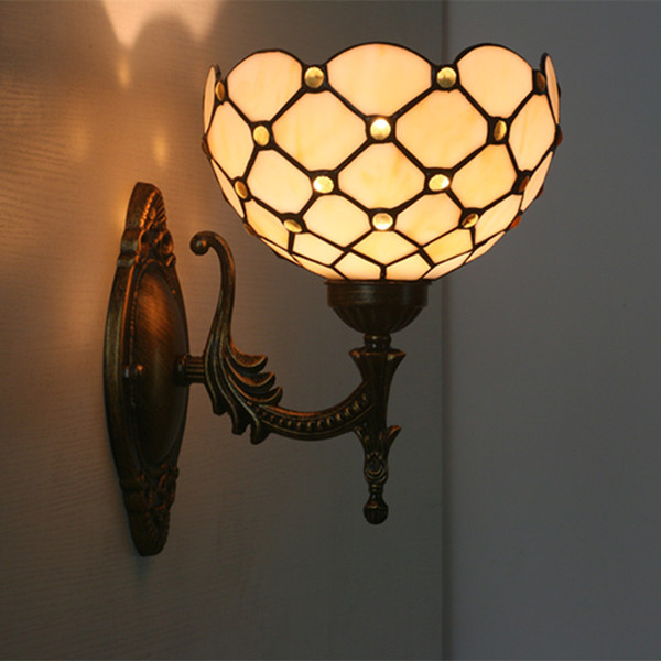 Gold Blue Green Beads Decor Wall Sconce Lamps Tiffany Stained Glass Wall Lights For Living Room Stair Art Glass Shade Wall Lamps