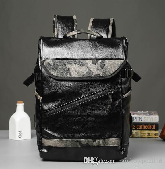 sales brand mens bags tide camouflage leather backpack backpack outdoor leisure travel The wind camouflage college students school