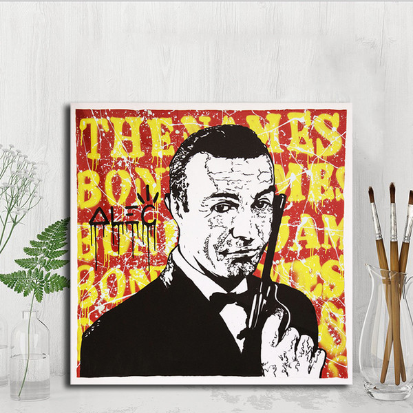 James Bond Monopolyingly Graffiti Canvas Painting POP Wall Art Street Poster Print HD Picture for Living Room Home Decor Artwork