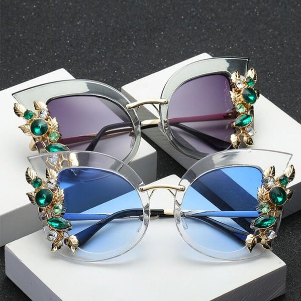 Europe and America diamond personalized frame fashion cat eye sunglasses fashion new trend big box sunglasses women sunglasses