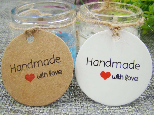 1.18*1.18inch 2000pcs round kraft paper handmade with love hang tag wedding candy box decoration custom logo garment tag