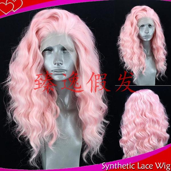 Großhandel Mhazel Rosa Haarfarbe 18in 180 Dichte Kurze Lockige Synthetische Leimlose Vordere Spitzeperücke Frei Teil 180 Dichte Von