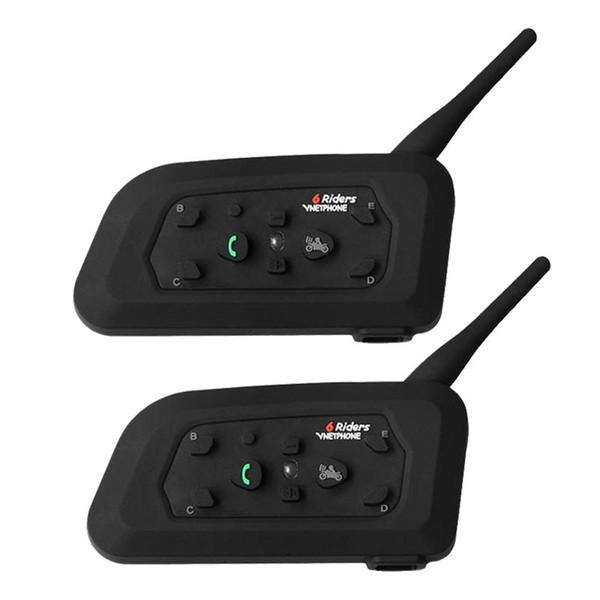 Vnetphone 2 STÜCKE 1200 Mt Motorrad Bluetooth Helm Intercom für 6 fahrer BT Drahtlose Wasserdichte Interphone Headsets MP3