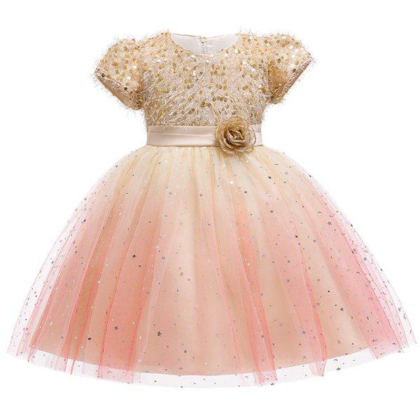 Свадебное платье принцессы День рождения Пачка платье Блестки Цветочницы Детская одежда Детская Вечеринка для девочек Одежда
