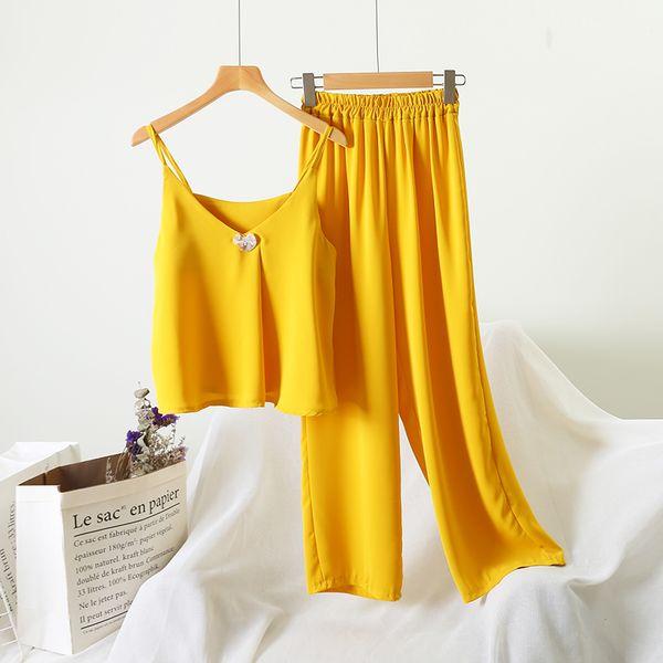 Elegante Escritório Desgaste Pant Set Verão Mulheres Moda Chiffon Camisole Vest + Elastic Cintura Alta Perna Larga Pant Amarelo Duas Peças Set