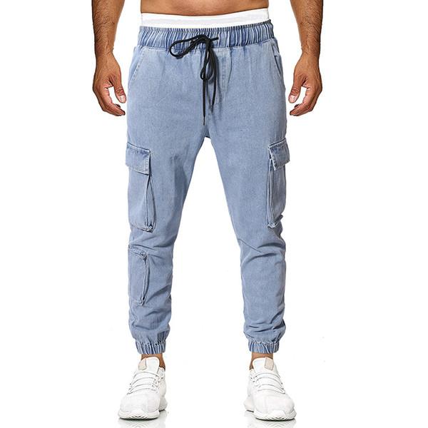 Compre Jeans Para Hombre Multi Bolsillo Tipo Suelto Monton Solido De Pie Denim Cintura Elastica Con Cordones Casual Urban Wind Wind Pants A 25 54 Del Cinda01 Dhgate Com