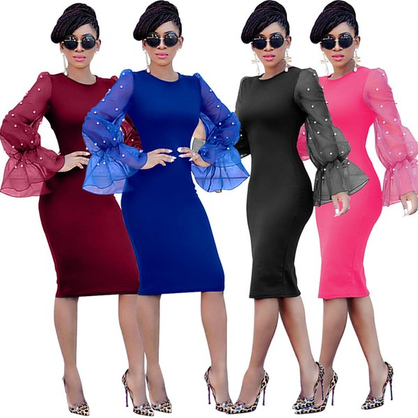 Well sell Women Madi dresses stylish New Fashion bodycon Crew Neck Flare/Bell Long Sleeve Sheath/Column pearl Summer clothing Plus Size 199