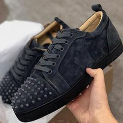 Designer Sneakers Red bottom Spikes Flat Velours Suede Sneakers Iron Grey men trainers 100% real leather Party shoes C0192