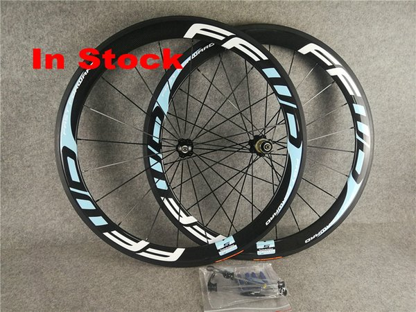 In stock Ffwd light blue 700C 50mm Clincher bicycle wheels Clincher Carbon Road Bike Bicycle Wheelsets