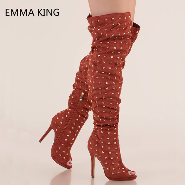 Fashion Studs Faux Suede Overknee Boots Thin Sexy Heels Shoes Woman Slouchy Spikes Black Rivets Knee High Booties Botas Mujer