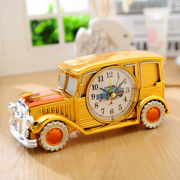Vintage Car Kids Alarm Clock - Plastic Desktop Clock For Student Children - Antique Car Model Table Office Home Decorator