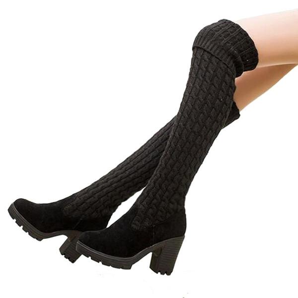 Dropshipping Nouveau Tricoté Femmes Bottes Sur Le Genou Haut Bottines Chaussures Automne Hiver Élastique Mince Longues Femmes Noir Chaussures DT013