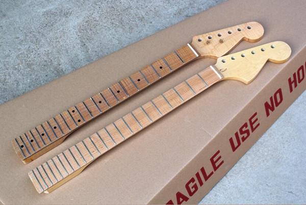 standard Cuello de guitarra eléctrica fábrica al por mayor con 21 Frets, 6 cuerdas, cuello arce de llama, ofreciendo personalizados