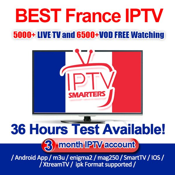 French IPTV Subscription With Abonnement Iptv 5000+ Tv Channels Arabic  Portugal Arabic UK IT Iptv Subscription HD Series VOD Adult Channel Tv Box  Apps
