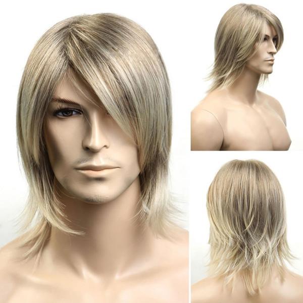 Anime мужская мода парик короткие волосы золотой мужчина волосы пушистые короткие вьющиеся химические волокна парики волос