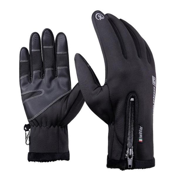 Hommes Femmes Outdoor Waterproof-vent doublure molletonnée 5 doigts Gants thermiques pour écran tactile pour faire du vélo Ski d'escalade