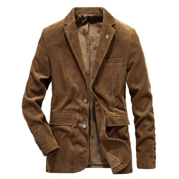 Nouveaux vestes en velours côtelé pour hommes hiver automne manteaux, plus la taille des hommes chaud épaissir outwear veste manteau vestes col rabattu # 60