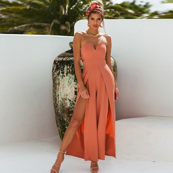 Women Off Shoulder Long Jumpsuit Lady Solid Sexy Fashion Rompers Femal Casual Sleeveless Elegant Vestidos Playsuits 2019 Summer
