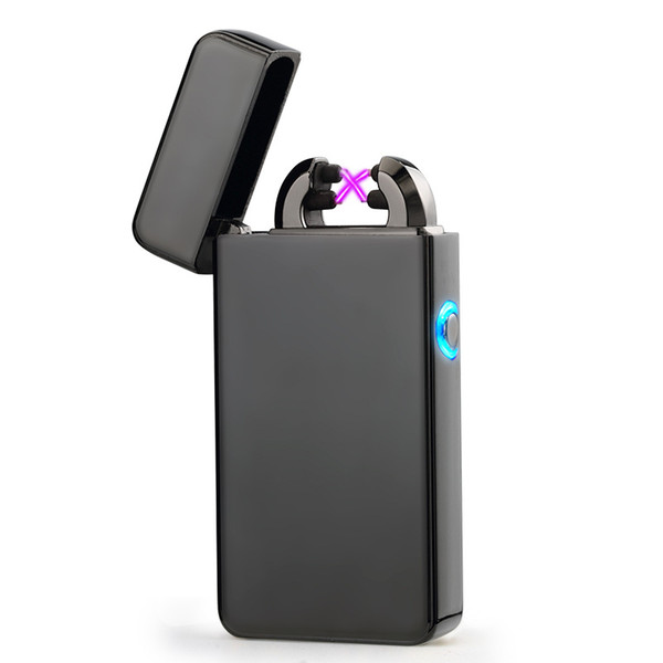 Male gift Arc Lighters metal USB Rechargeable Flameless Electric Arc Windproof Cigar Cigarette Lighter Cross Double Pulse Slim Lighter
