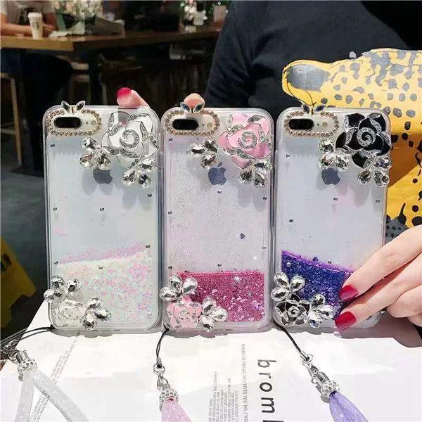Bling líquido areia movediça diamante case para iphone xr xs max x 8 7 6 tpu macio moda rosa flor glitter faísca capa + alça de corda