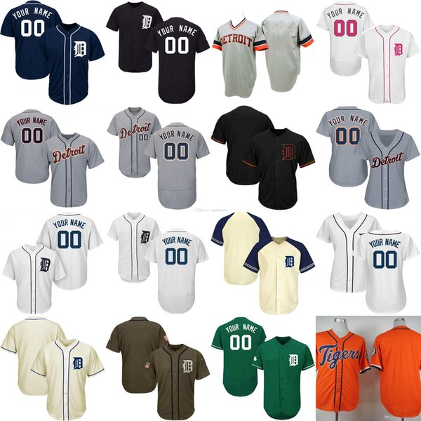 Detroit baseball Jersey 23 Kirk Gibson 24 Miguel Cabrera Allan Trammell Jose Iglesias Customized personalized custom Any name number