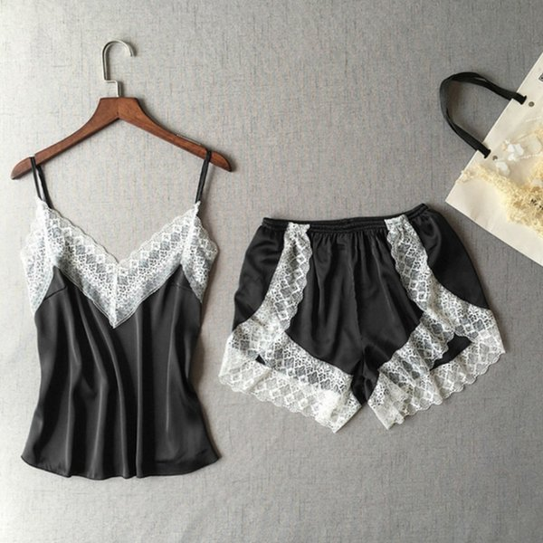 2 PCS Set Pajamas Women Fashion Sexy Lace Sleepwear Lingerie Temptation Babydoll Underwear Nightdress night Ladies nightgown BB3