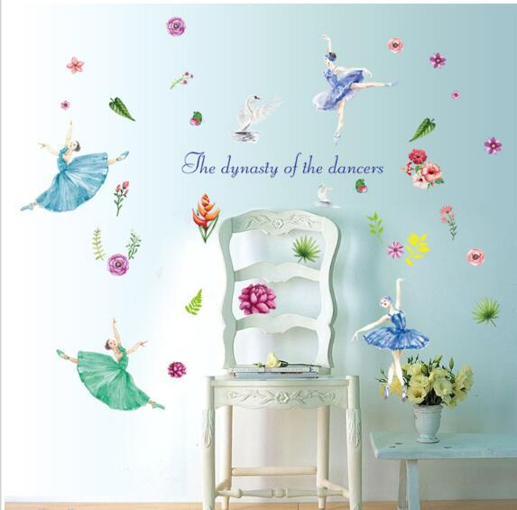 Autocollant Nom Un Belle Danseur de Ballet Art Autocollants Decal Home DIY Décoration Murale Amovible Chambre Décor Stickers Muraux