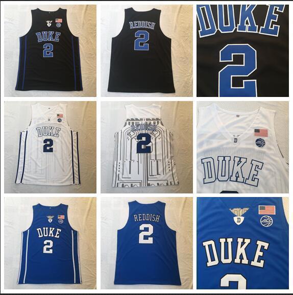 Maglia NCAA Duke 2 Cam Reddish Back, blu e bianca con ricamo diavolo