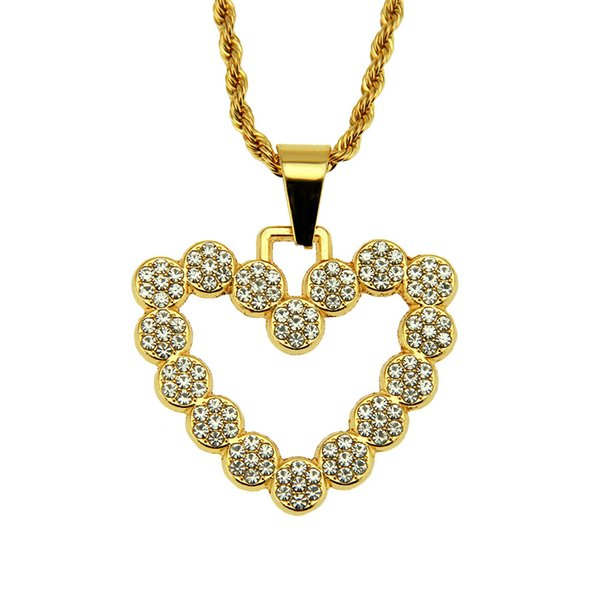 Heart love shape pendant necklace Hip hop Crystal rhinestone heart necklace Hip hop rap style pendant jewelry wholesale factory direct