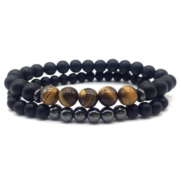 2pcs Bead Men Women Bracelet 2019 New Fashion Stone Bead Charm Bracelets & Bangles For Men Women Jewelry Gift
