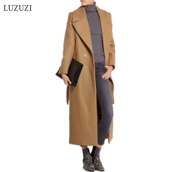 LUZUZI casaco feminino 2019 Femmes Plus la taille Automne Hiver Cassic Simple Laine Maxi Long Manteau Femme Robe Survêtement manteau femme