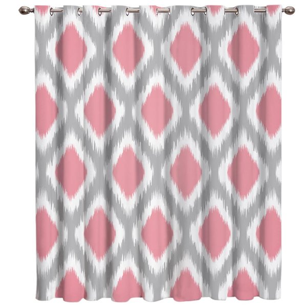 Grey And Pinl Geometry Diamond Window Treatments Curtains Valance Window Curtains Dark Living Room Blackout Kitchen Bedroom