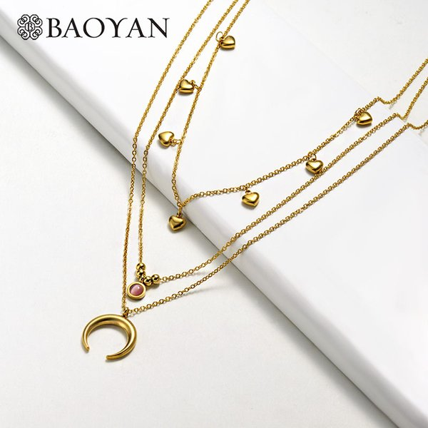 Baoyan Multi Layered Gold Chain Necklace Horn Moon Heart Coin Pendant Necklaces Women Trendy Stainless Steel Statement Necklaces