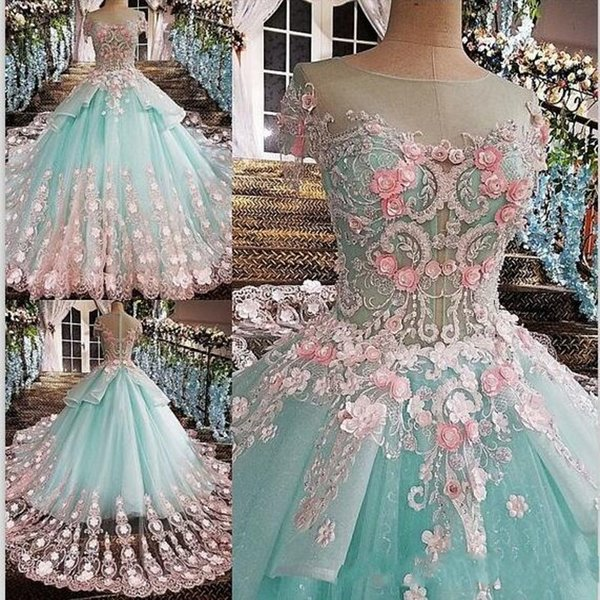 2020 Princess Mint Green Ball Gown Quinceanera Dresses Jewel Short Sleeve Pink Appliques Vestidos De 15 Anos Prom Party Gowns For Sweet 15