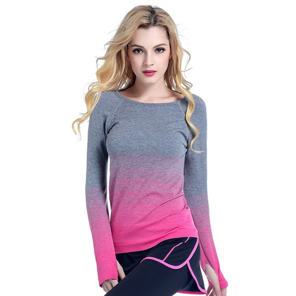 Women\'s professional yoga sports gradient long-sleeved T-shirt moisture-absorbing quick-drying fitness stretch women\'s s