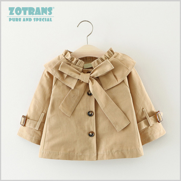 Newborn Baby Girls Coat Cool Jackets Bow Autumn Ruched Infant Toddler Windbreaker Spring Kids Outerwear Children Coat 0-36M