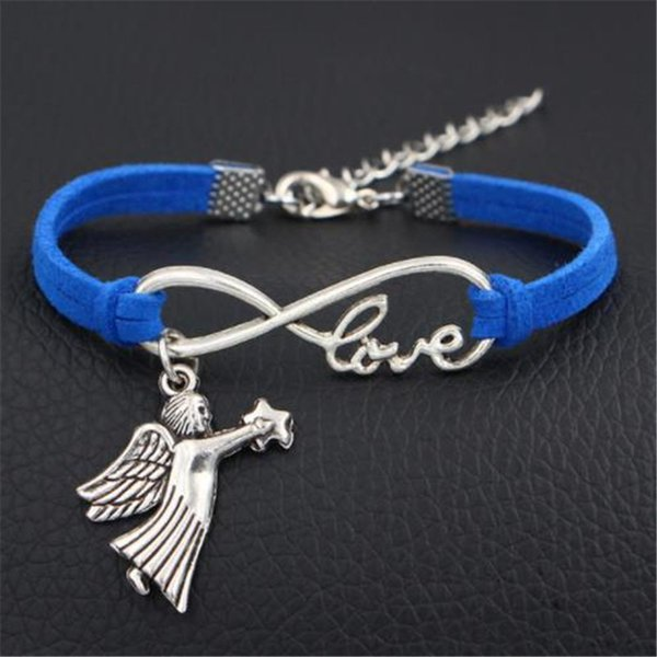 New Hot Selling Infinity Love Star Fly Angel Wing Pendant Bracelets Fashion Popular Dark Blue Leather Suede Rope Wrap Jewelry Gift Wholesale