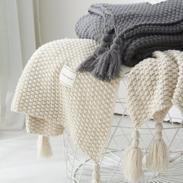 Nordic Throw Blanket Tassel Sofa Travel Blanket Beige Gray Coffee Blankets Skin Friendly Blankets for Children Wrap Blanket