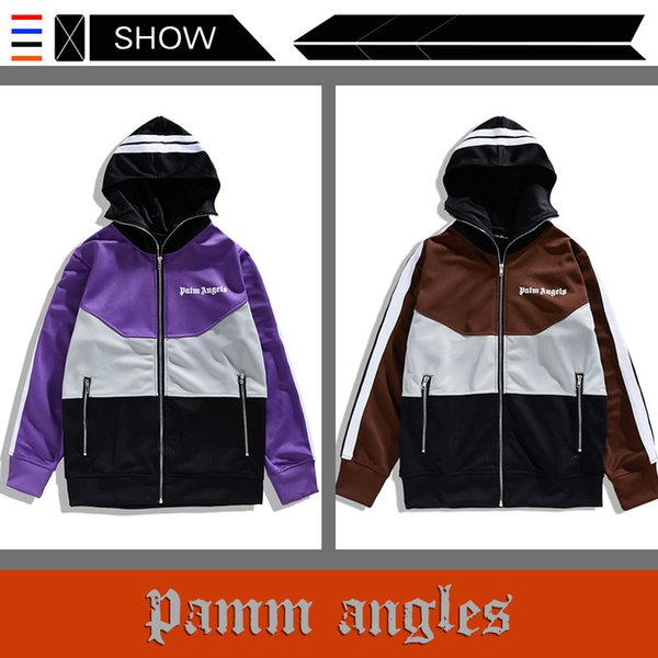 The European and American Popular Logo PALM ANGELS Tracksuit Contrast Color PALM ANGELS Pants Men and Women Casual Sports Hooded Jacket